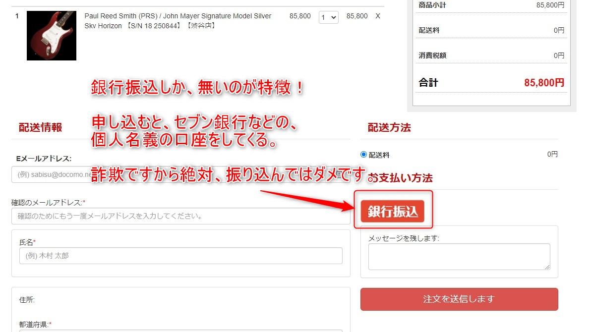 詐欺ショッピングサイト 支払い画面